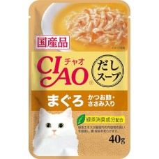Ciao Clear Soup Pouch Chicken Fillet & Maguro Topping Dried Bonito 40g Carton (16 Pouches)