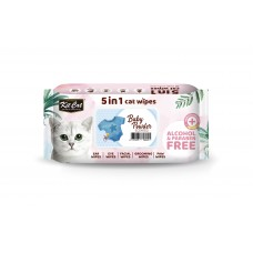 Kit Cat 5 In 1 Cat Wipes 80'S Baby Powder ( 2pack )