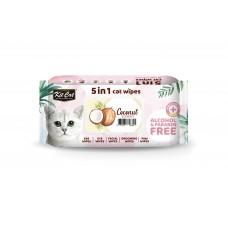 Kit Cat 5 In 1 Cat Wipes 80'S Coconut (2 Packs)