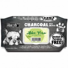 Absorb Plus Pet Wipes Charcoal 80's Aloe Vera
