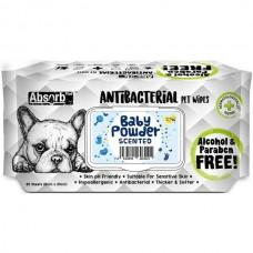 Absorb Plus Pet Wipes Antibacterial 80's Baby Powder (2 pack )