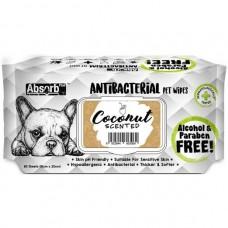 Absorb Plus Pet Wipes Antibacterial 80's Coconut (2pack )
