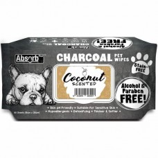 Absorb Plus Pet Wipes Charcoal 80's Coconut
