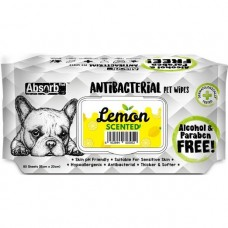 Absorb Plus Pet Wipes Antibacterial 80's Lemon (2pack)