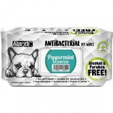 Absorb Plus Pet Wipes Antibacterial 80's Peppermint (2pack)