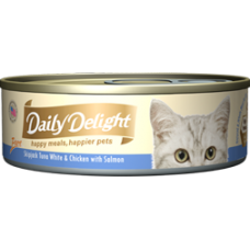 Daily Delight Pure Skipjack Tuna White & Chicken with Salmon 80g (24 Cans)